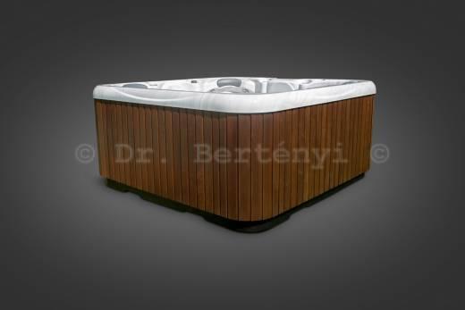 A képeken / videón látható konfiguráció: Alap, függőleges elrendezésű szaunafa oldalburkolat, Dijoni Dió barna színben, Stearling Silver színű belsővel